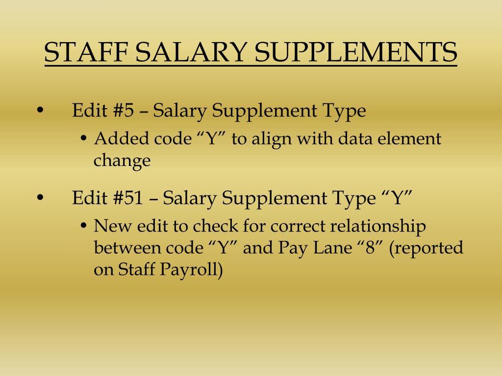 STAFF SALARY SUPPLEMENTS