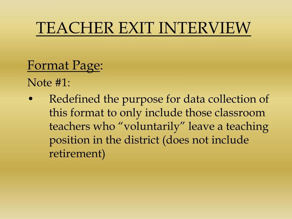 TEACHER EXIT INTERVIEW