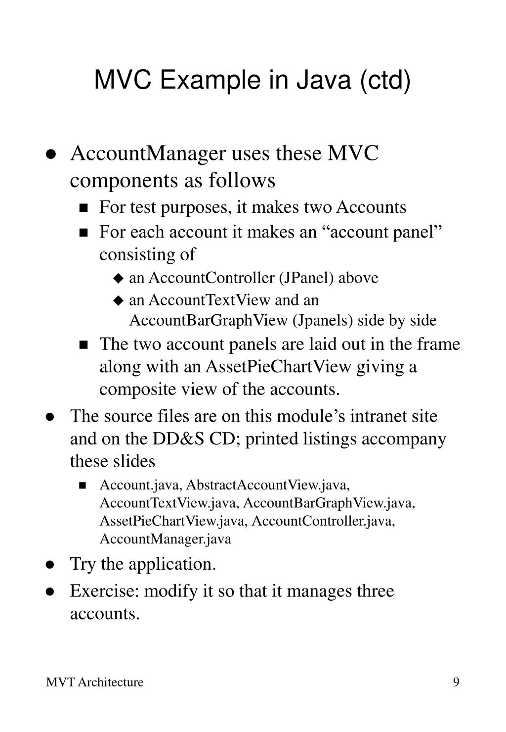 MVC Example in Java (ctd)