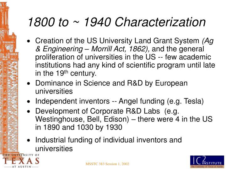 1800 to ~ 1940 Characterization