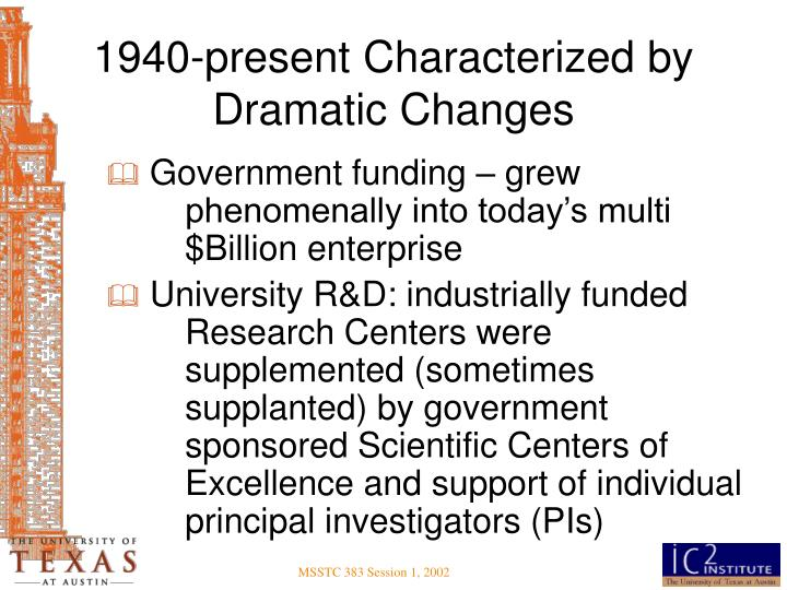 1940-present Characterized by Dramatic Changes