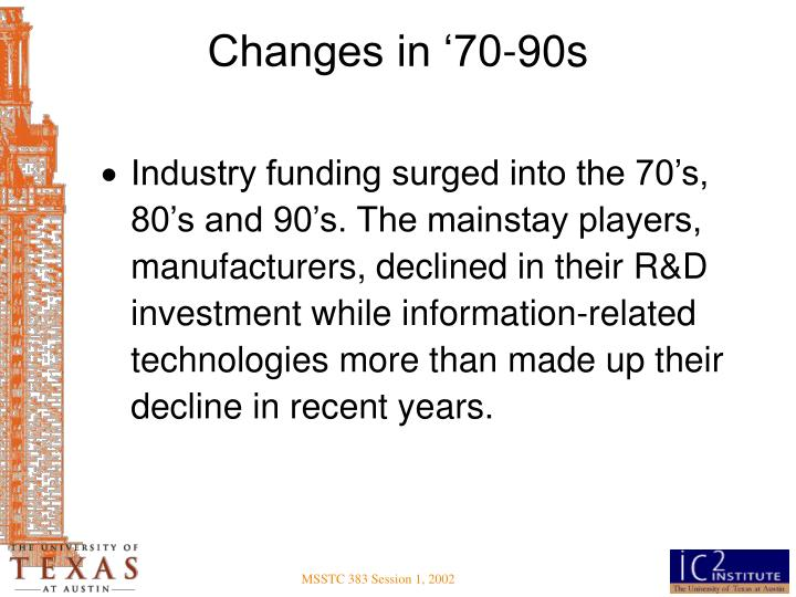 Changes in '70-90s