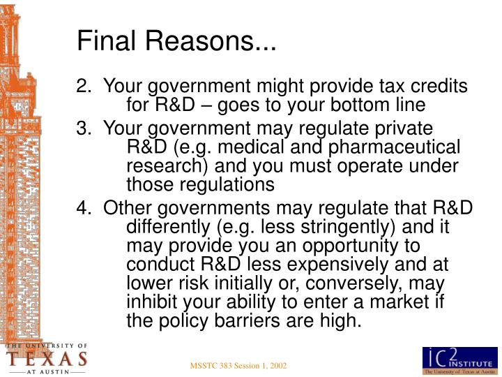 Final Reasons...