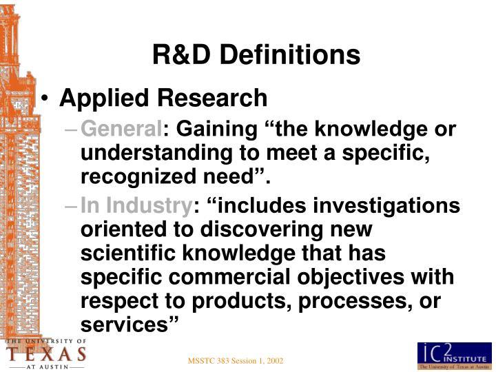 R&D Definitions