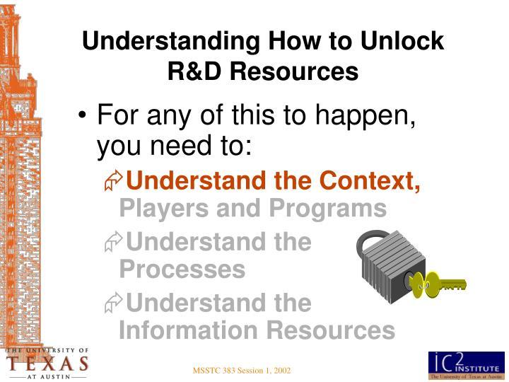Understanding How to Unlock R&D Resources