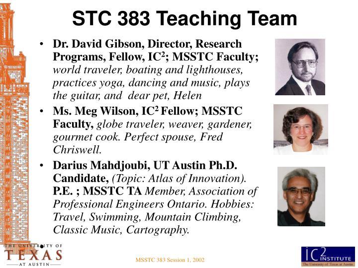 STC 383 Teaching Team