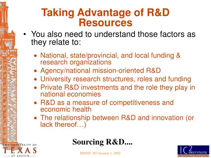 Taking Advantage of R&D Resources
