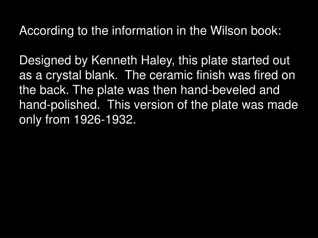 According to the information in the Wilson book: