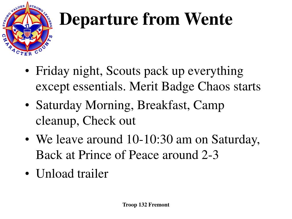 Departure from Wente