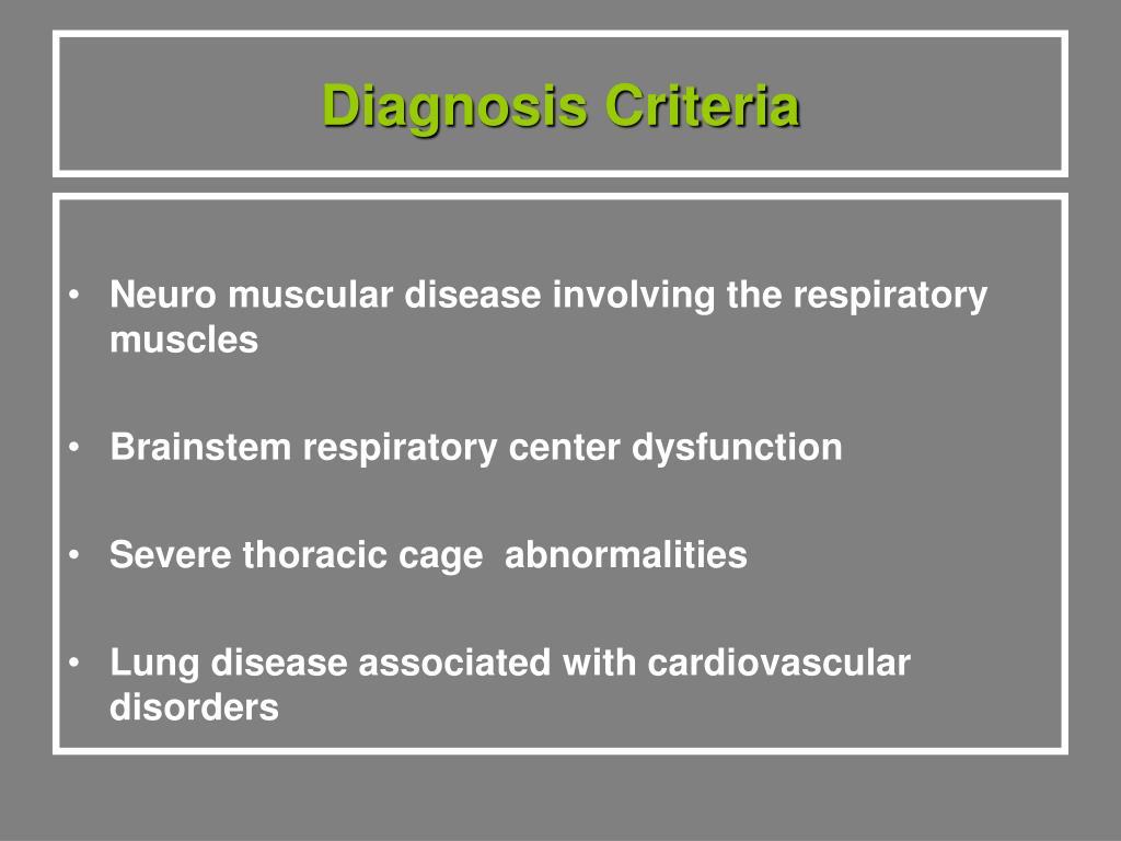 Diagnosis Criteria
