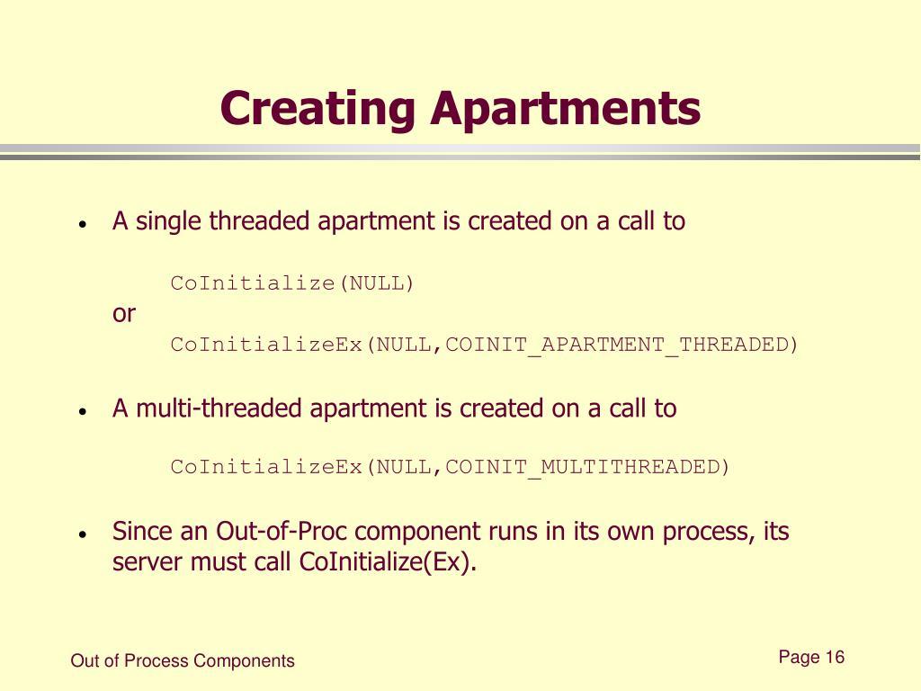 Creating Apartments