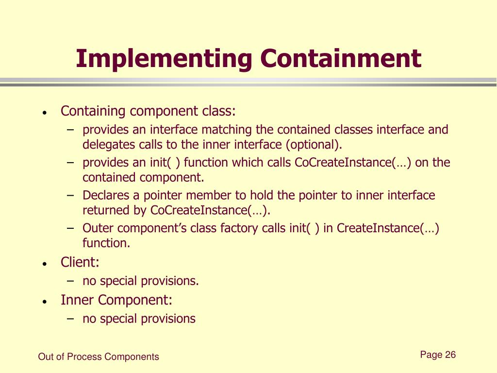 Implementing Containment