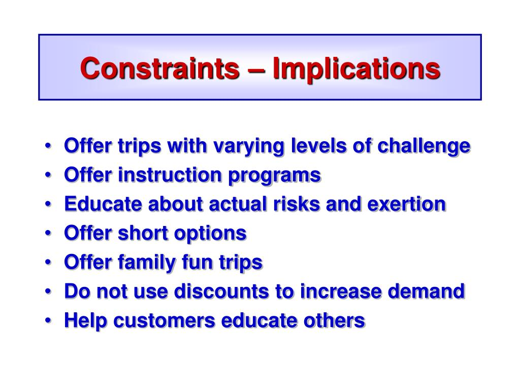 Constraints – Implications