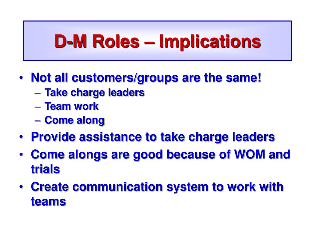 D-M Roles – Implications