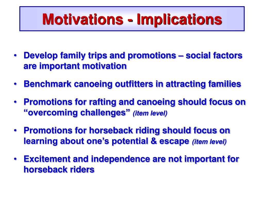 Motivations - Implications