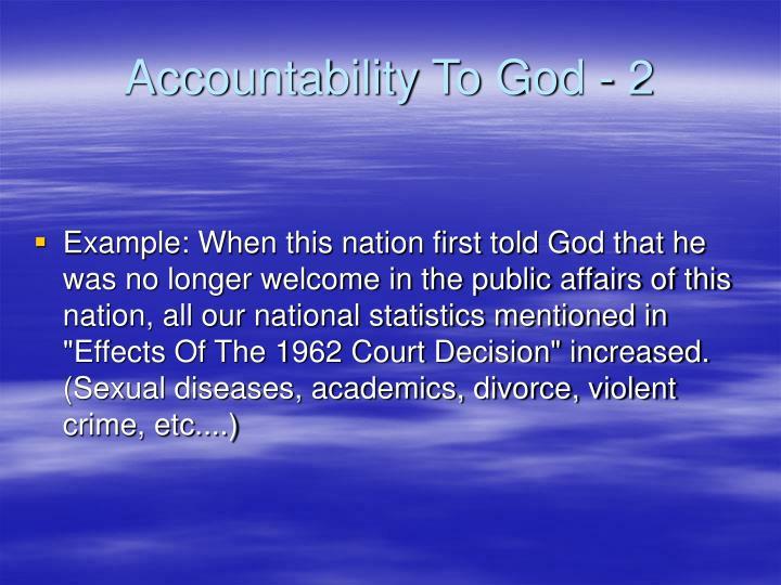 Accountability To God - 2