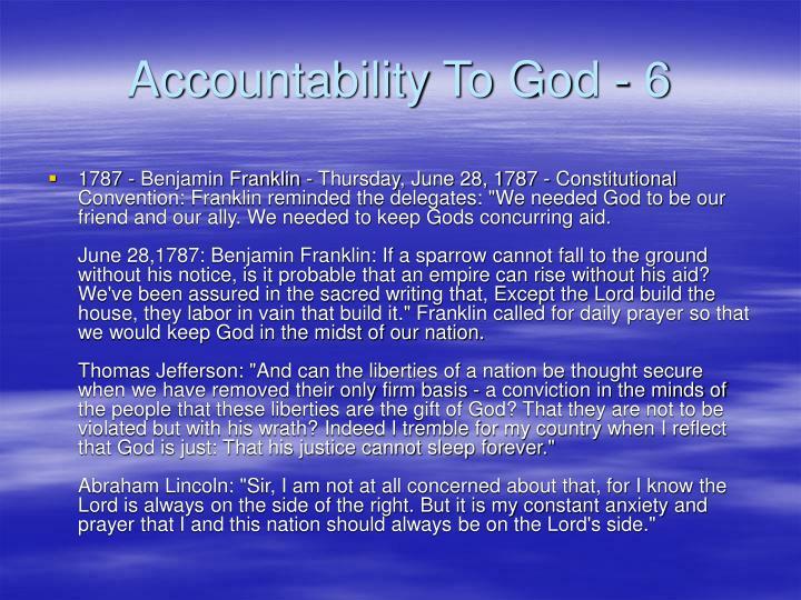 Accountability To God - 6