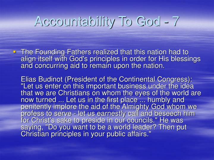 Accountability To God - 7