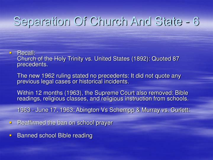 Separation Of Church And State - 6