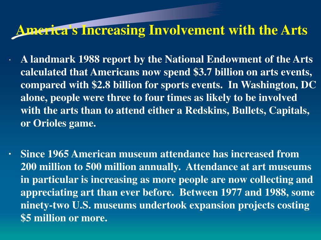 America's Increasing Involvement with the Arts