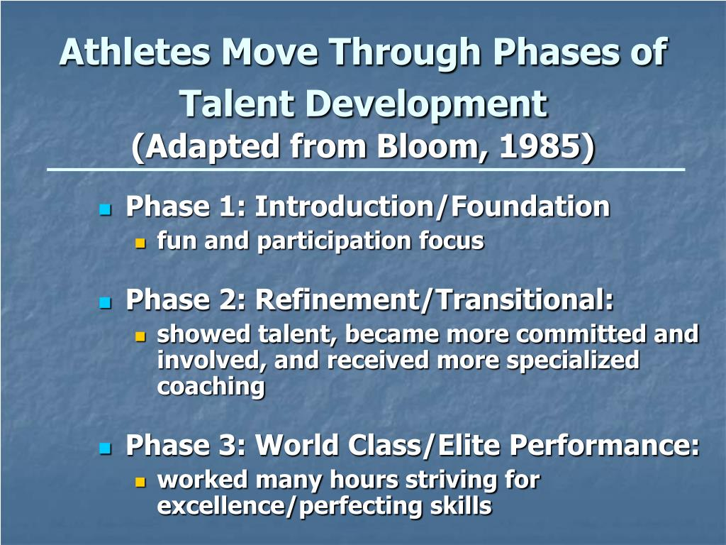 Athletes Move Through Phases of Talent Development