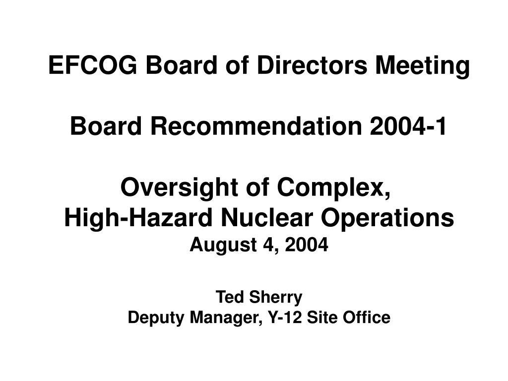 EFCOG Board of Directors Meeting