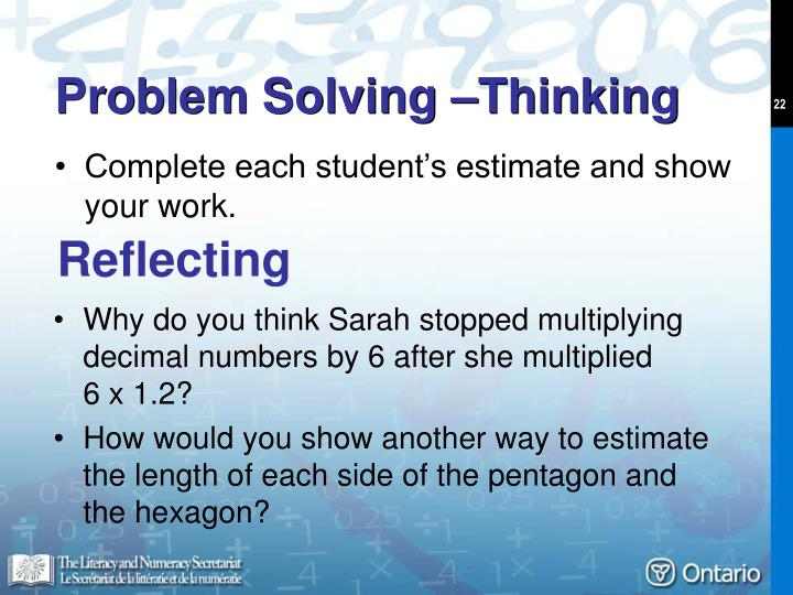 Problem Solving –Thinking