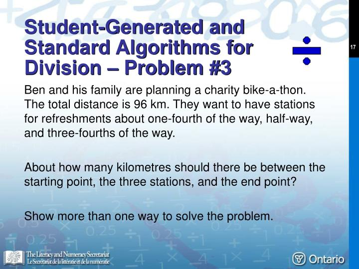 Student-Generated and Standard Algorithms for Division – Problem #3