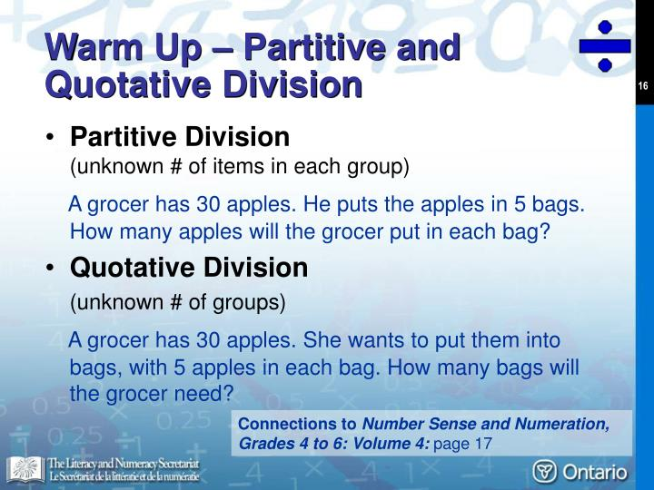 Warm Up – Partitive and Quotative Division