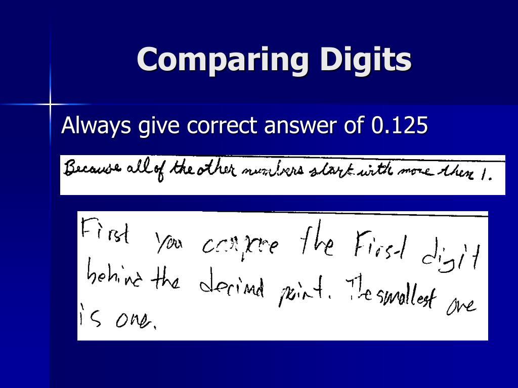 Comparing Digits