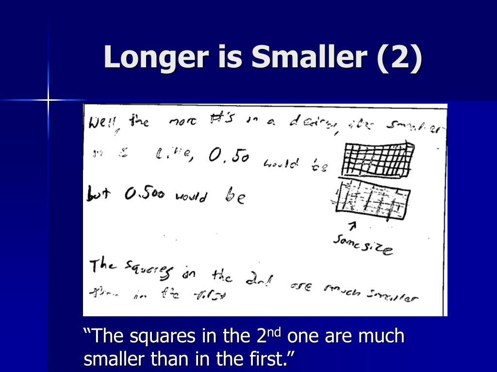 Longer is Smaller (2)