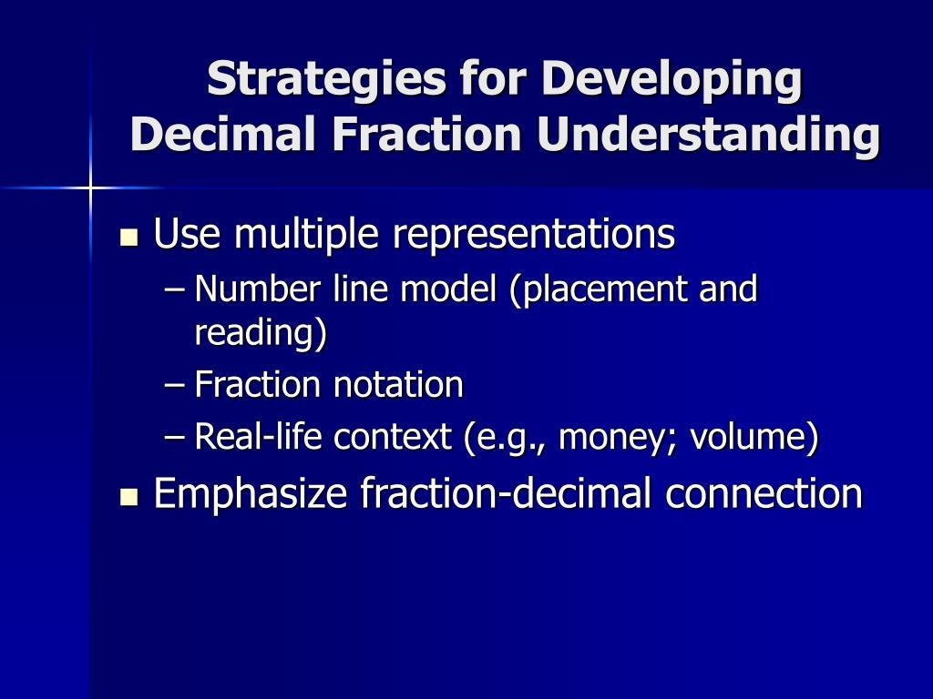 Strategies for Developing Decimal Fraction Understanding