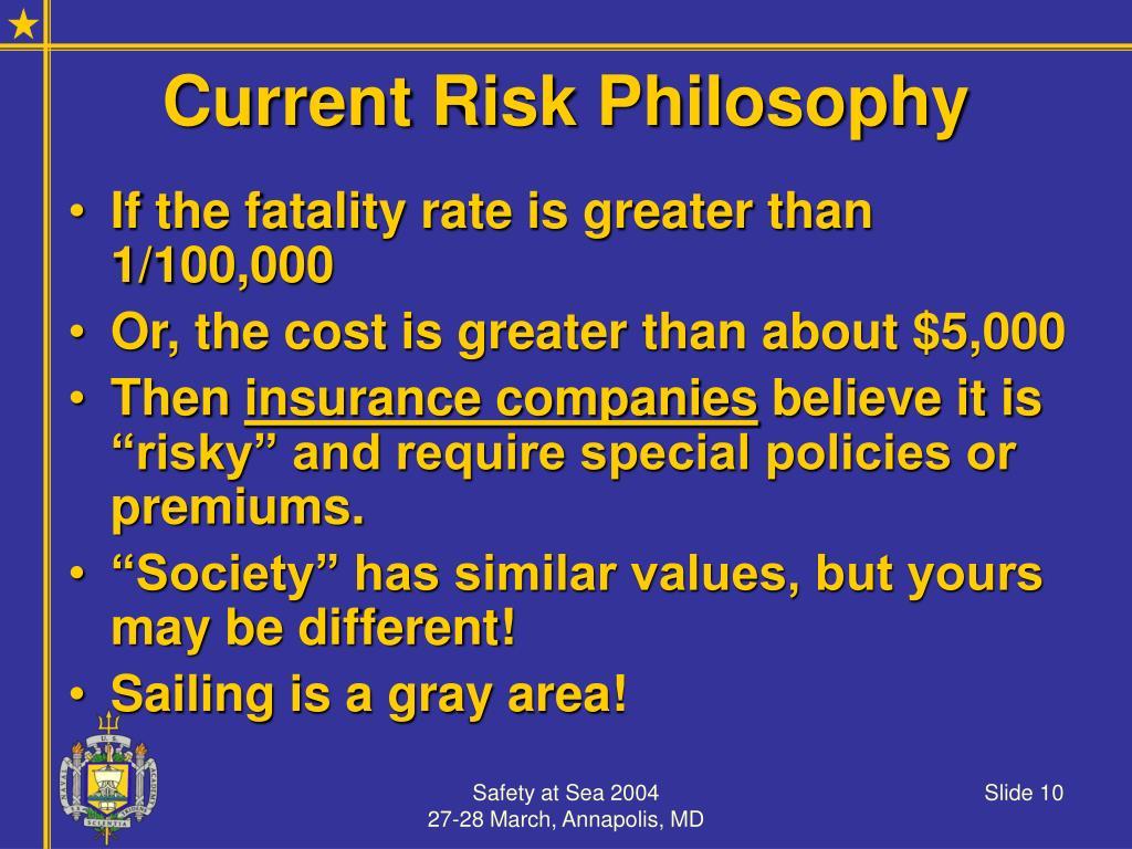 Current Risk Philosophy