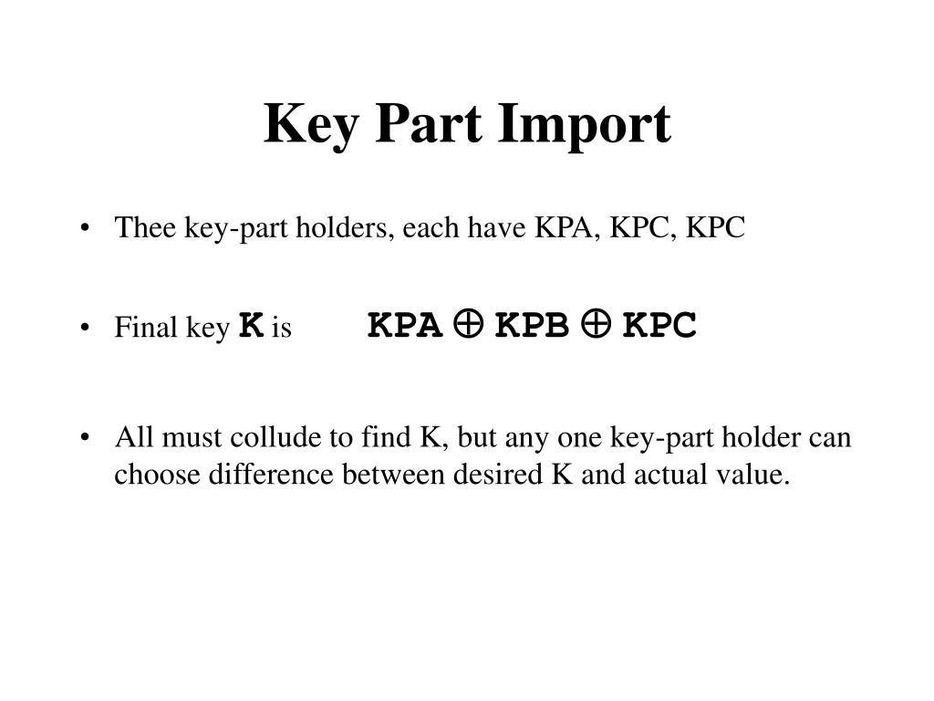 Key Part Import