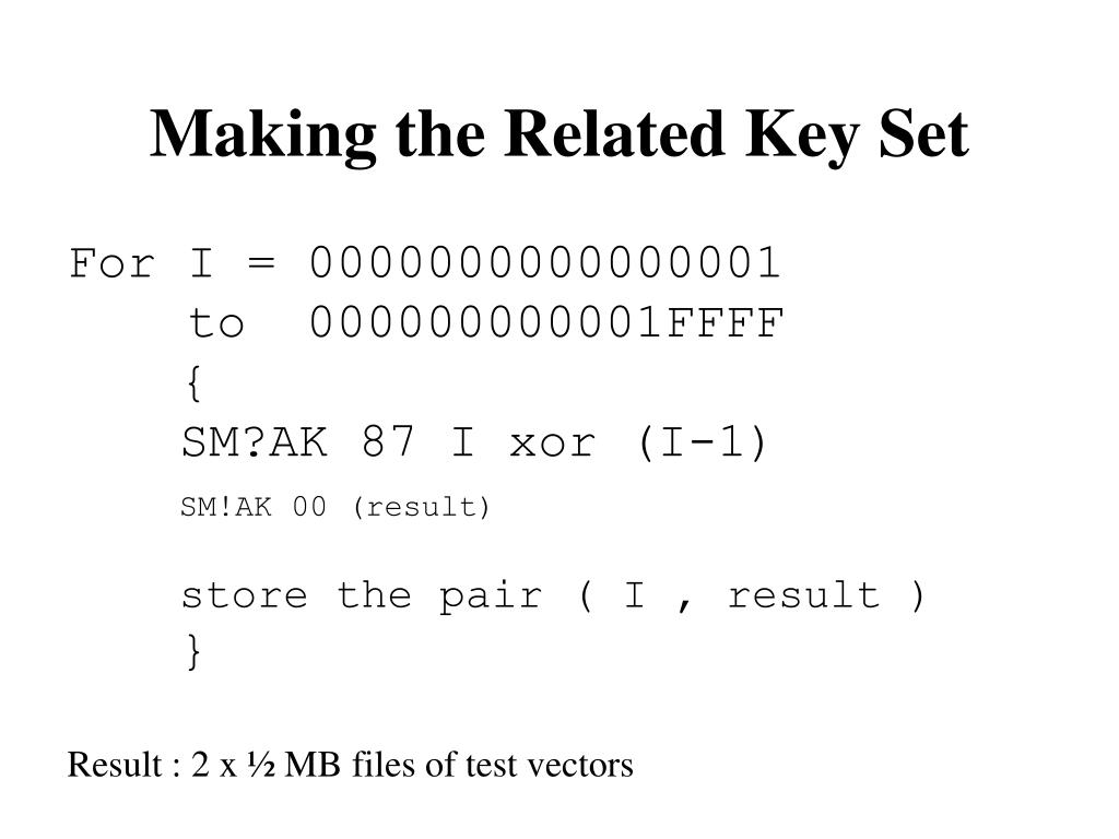 Making the Related Key Set