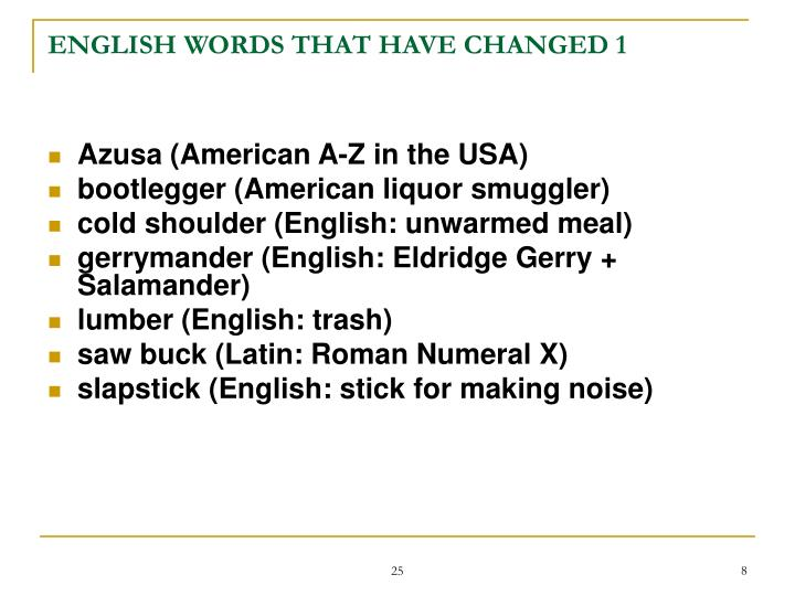 ENGLISH WORDS THAT HAVE CHANGED 1