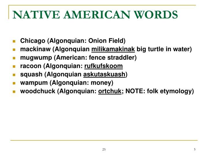NATIVE AMERICAN WORDS