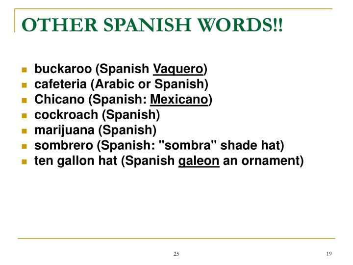 OTHER SPANISH WORDS!!