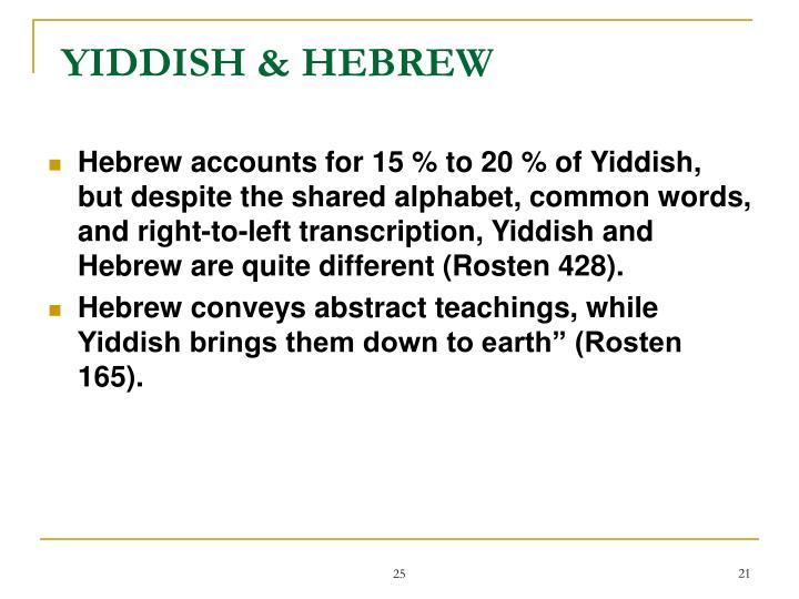 YIDDISH & HEBREW