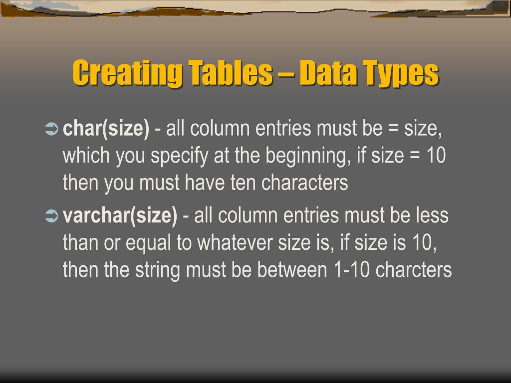 Creating Tables – Data Types