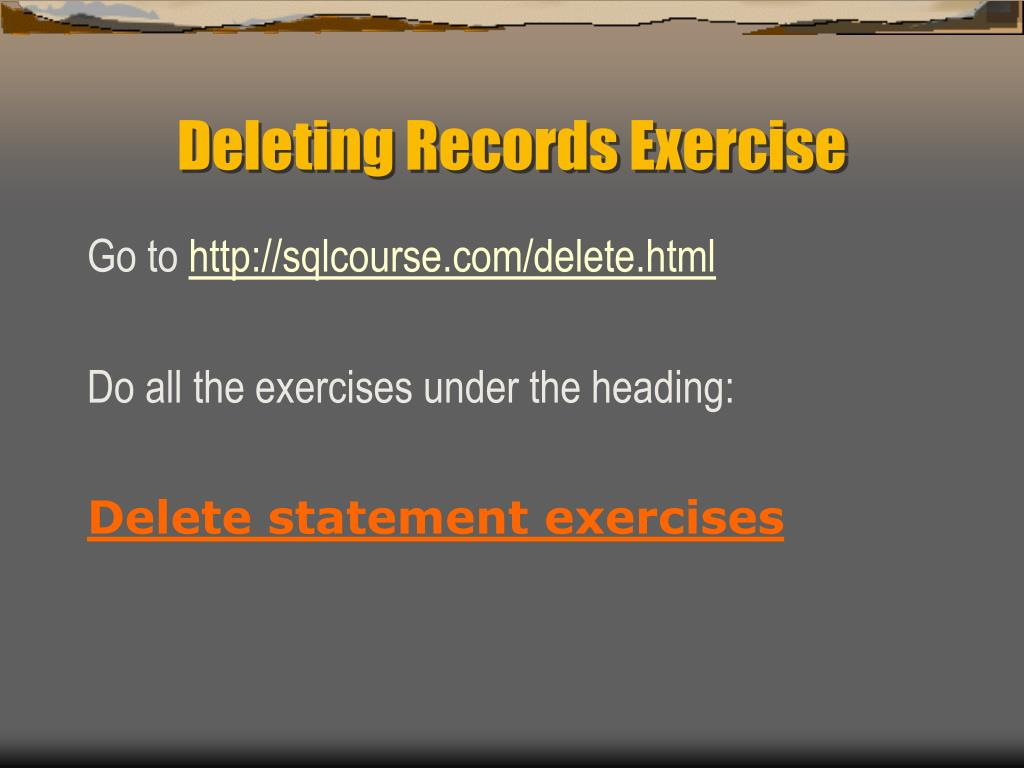 Deleting Records Exercise