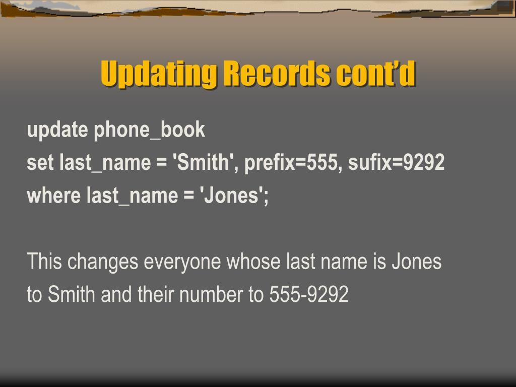 Updating Records cont'd