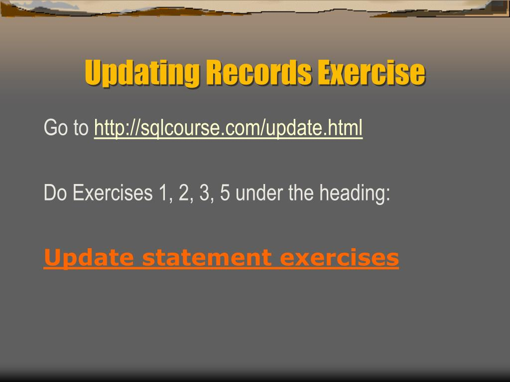 Updating Records Exercise