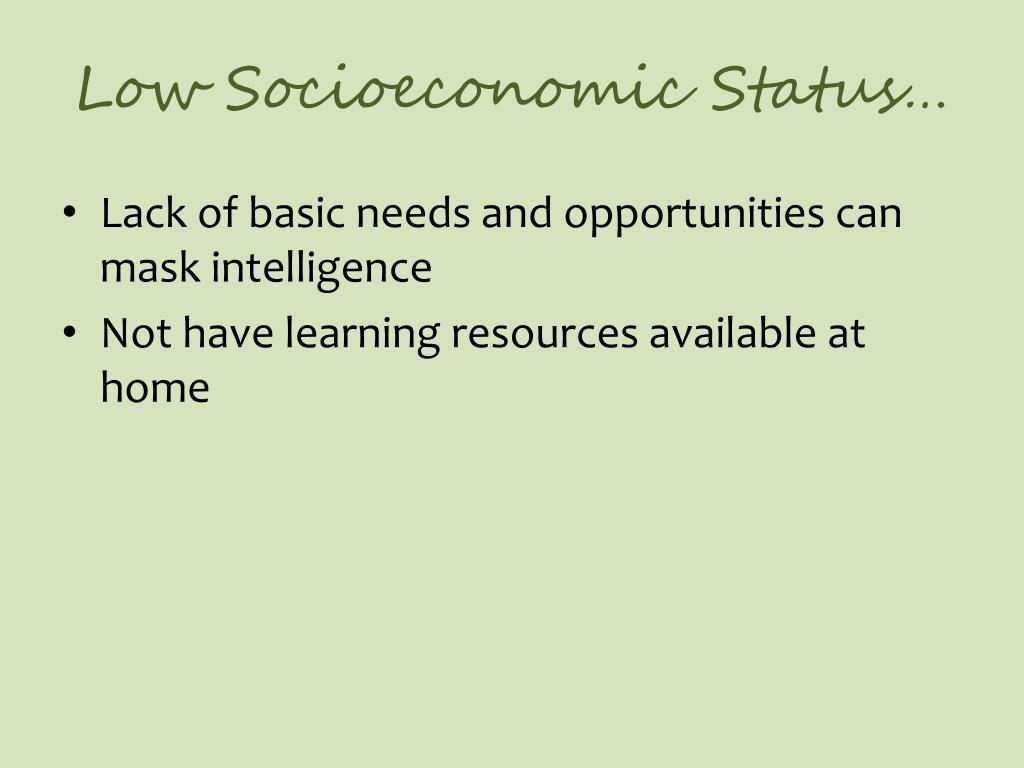 Low Socioeconomic