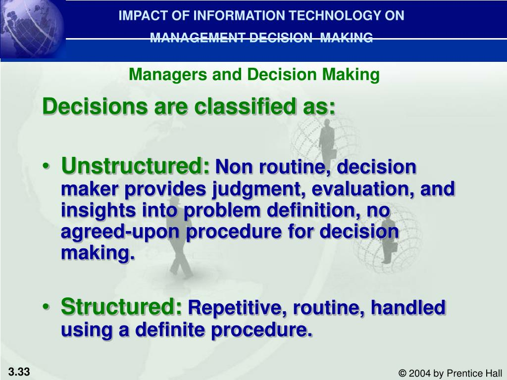 IMPACT OF INFORMATION TECHNOLOGY ON MANAGEMENT DECISION  MAKING
