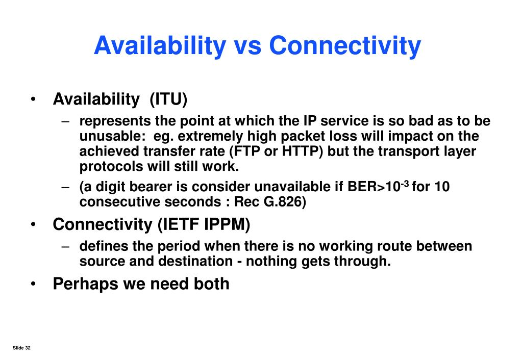 Availability vs Connectivity