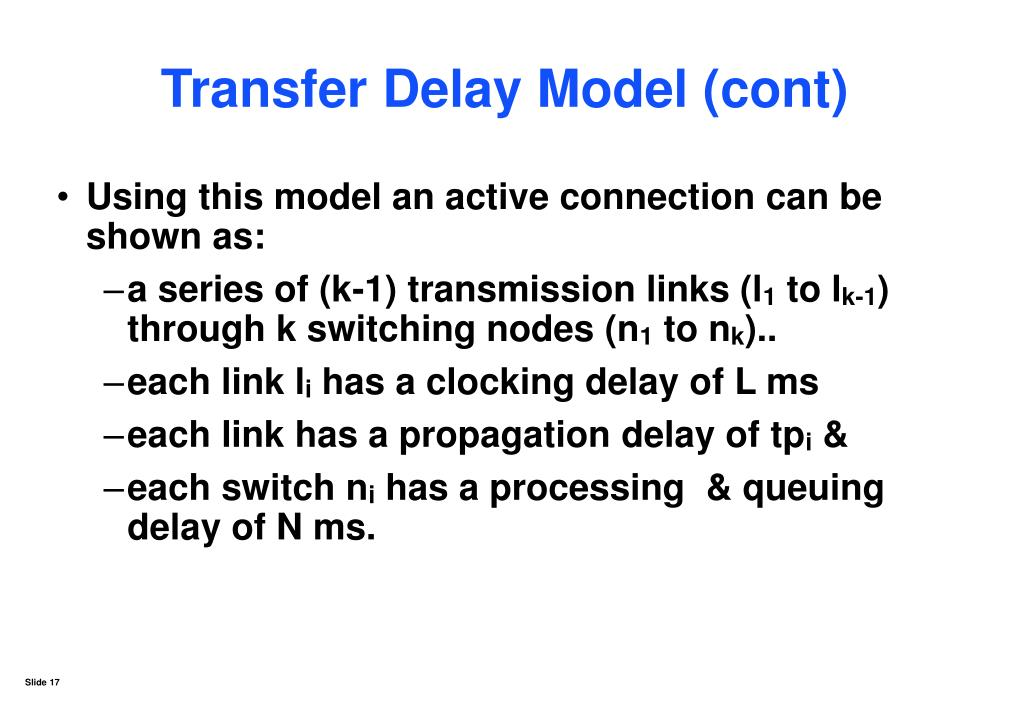 Transfer Delay Model (cont)