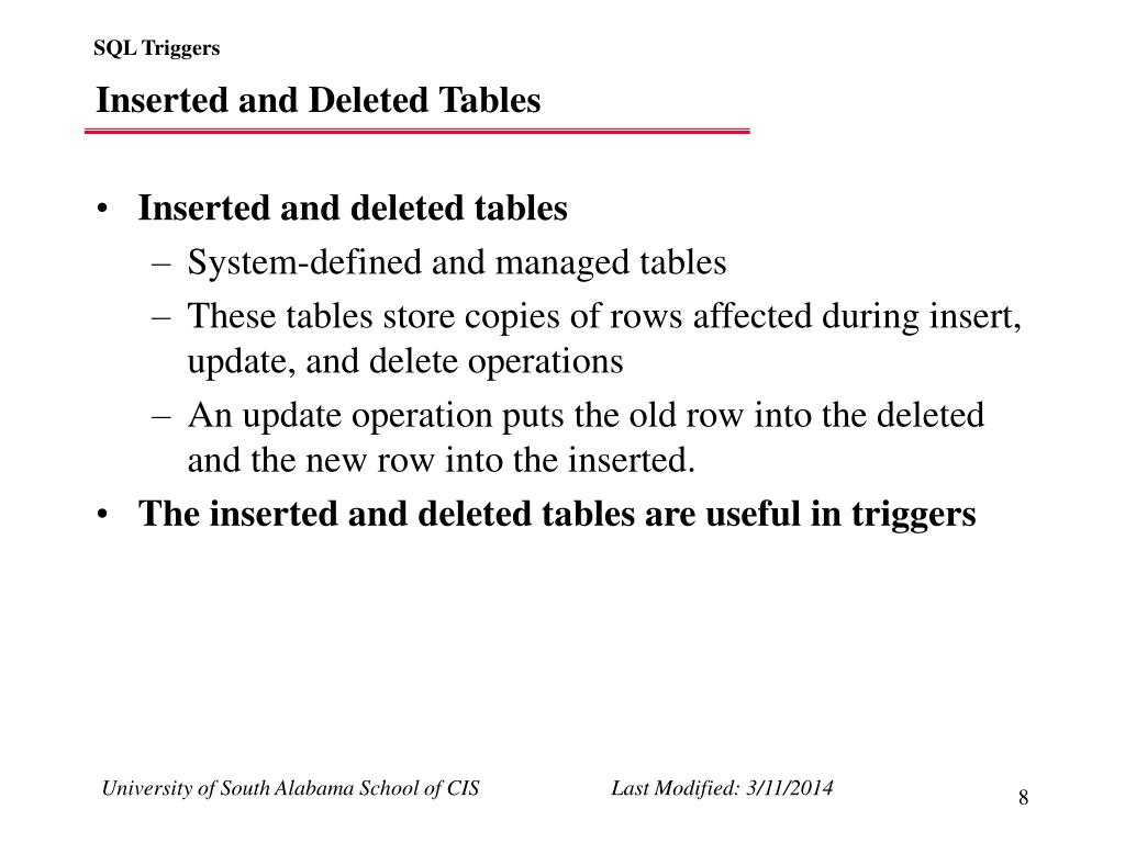 Inserted and Deleted Tables