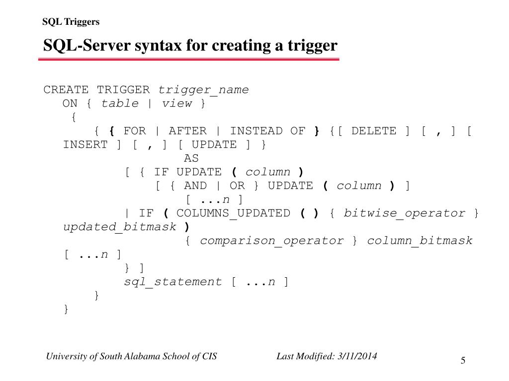 SQL-Server syntax for creating a trigger