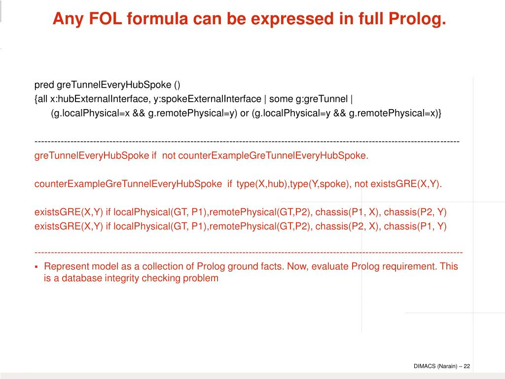 Any FOL formula can be expressed in full Prolog.